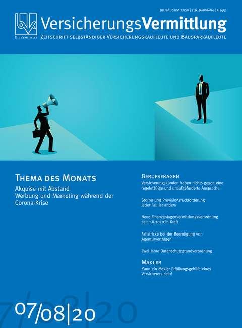 Cover der BVK Mitgliederzeitschrift VersicherungsVermittlung Ausgabe 7/8 | 2020