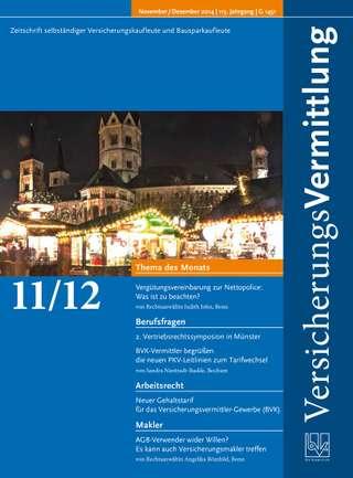 Cover der BVK Mitgliederzeitschrift VersicherungsVermittlung Ausgabe Nov./Dez. | 2014