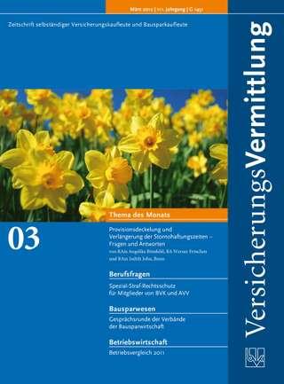 Cover der BVK Mitgliederzeitschrift VersicherungsVermittlung Ausgabe März | 2012