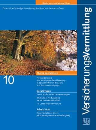 Cover der BVK Mitgliederzeitschrift VersicherungsVermittlung Ausgabe Oktober | 2010