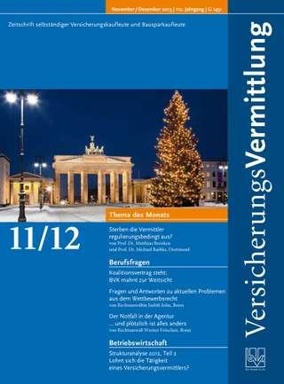 Cover der BVK Mitgliederzeitschrift VersicherungsVermittlung Ausgabe Nov./Dez. | 2013