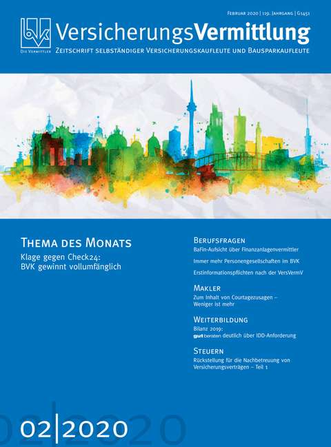 Cover der BVK Mitgliederzeitschrift VersicherungsVermittlung Ausgabe 2 | 2020