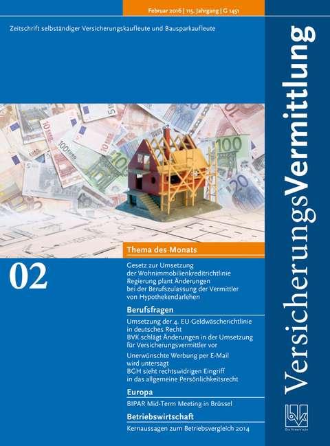 Cover der BVK Mitgliederzeitschrift VersicherungsVermittlung Ausgabe 2 | 2016