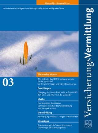 Cover der BVK Mitgliederzeitschrift VersicherungsVermittlung Ausgabe März | 2018
