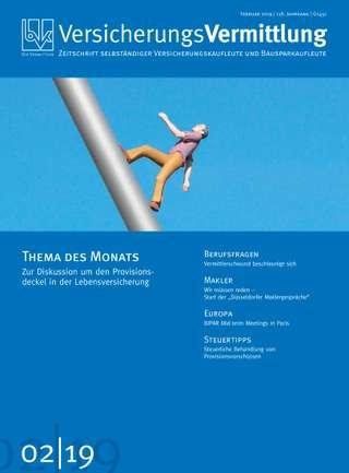 Cover der BVK Mitgliederzeitschrift VersicherungsVermittlung Ausgabe Februar | 2019