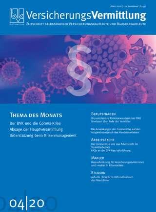 Cover der BVK Mitgliederzeitschrift VersicherungsVermittlung Ausgabe April | 2020
