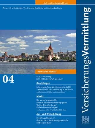Cover der BVK Mitgliederzeitschrift VersicherungsVermittlung Ausgabe April | 2015
