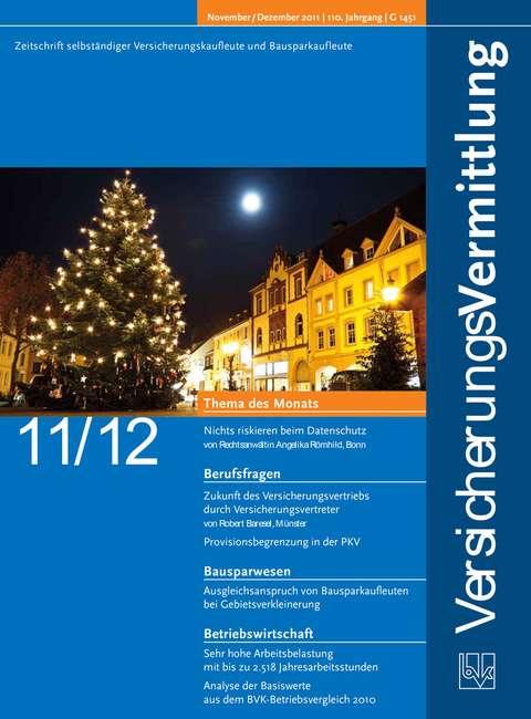 Cover der BVK Mitgliederzeitschrift VersicherungsVermittlung Ausgabe 11/12 | 2011